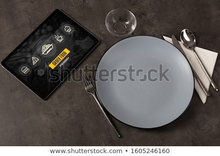 Stock photo: Online Food Order Concept On Laid Table