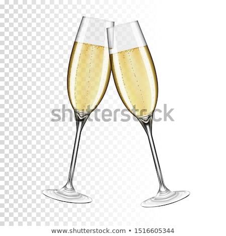 mikulás · tart · pezsgő · szemüveg · tálca · közelkép - stock fotó © freedomz