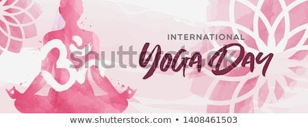 watercolor yoga day card of woman in lotus pose stock photo © cienpies