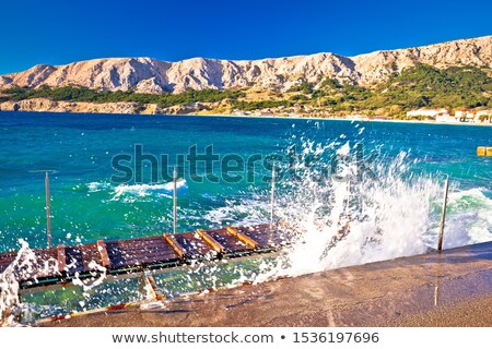 Baska. Island of Krk with waves breaking on coast in town of Bas Stock photo © xbrchx