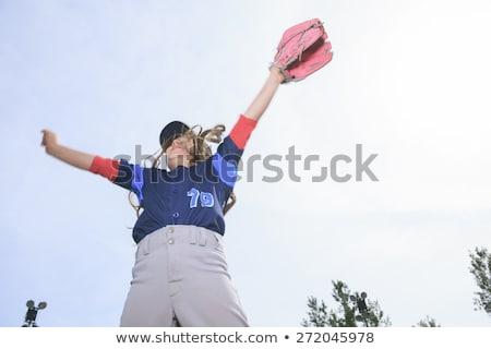 Bom criança feliz jogar beisebol esportes Foto stock © Lopolo