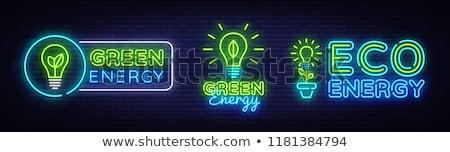 ökológia neon szalag terv energia promóció Stock fotó © Anna_leni
