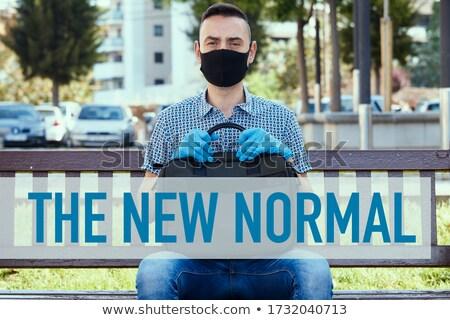 человека синий сидят скамейке Сток-фото © nito