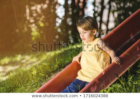 девочку площадка слайдов глядя дети друзей Сток-фото © Kzenon