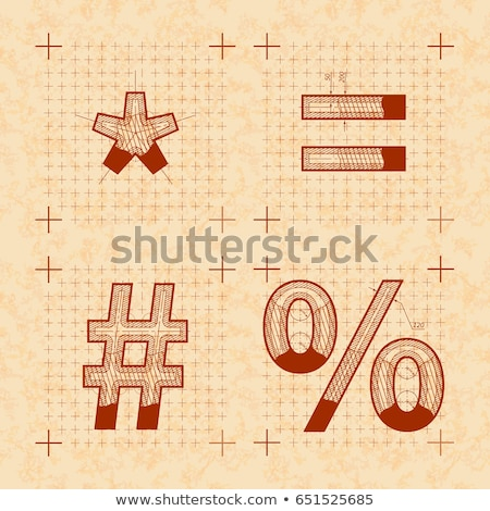 Medieval inventor sketches of special signs. Retro style font on old yellow paper Stock photo © evgeny89