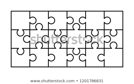 18 fehér darabok téglalap forma kirakós játék Stock fotó © evgeny89