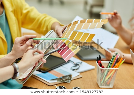 hand holding tone color palette computer graphic design Stock photo © yupiramos