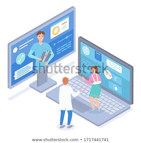 Kobieta podziale strony gips konsultacji dwa Zdjęcia stock © robuart