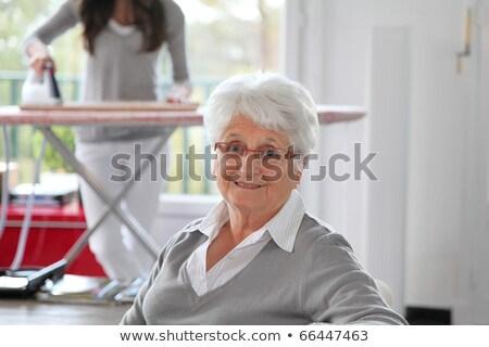 dochter · strijken · vrouw · familie · gelukkig · haren - stockfoto © photography33