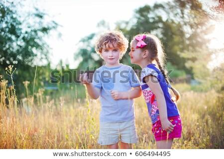 afbeelding · weinig · kid · zomer · gras · weide - stockfoto © pzaxe