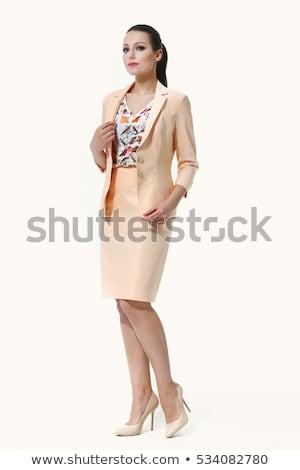 Stok fotoğraf: Siyah · elbise · esmer · yüksek · topuklu · beyaz · kadın · kız