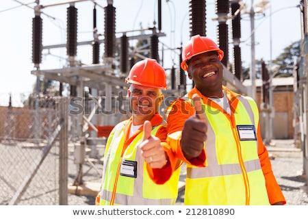 Сток-фото: два · улыбка · счастливым · строительство · работу