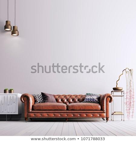 sofá · canto · quarto · parede · luz · mobiliário - foto stock © ciklamen