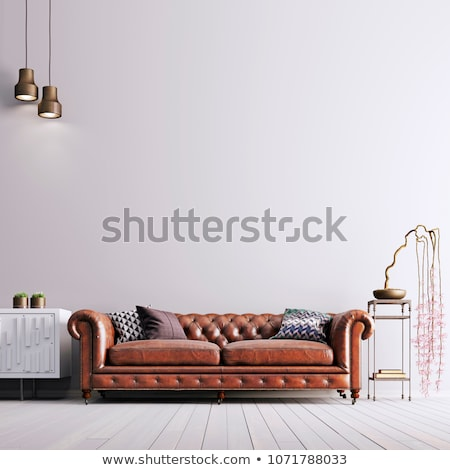 Deri kanepe bitki pencere ev dizayn Stok fotoğraf © Ciklamen