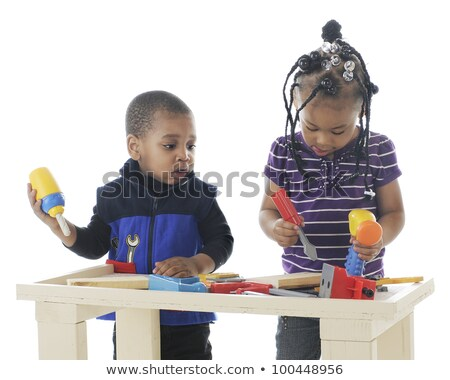 Child playing with a toy workbench Stock photo © photography33