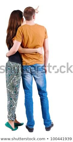 Divat pár hát másfelé néz fiatal áll Stock fotó © feedough