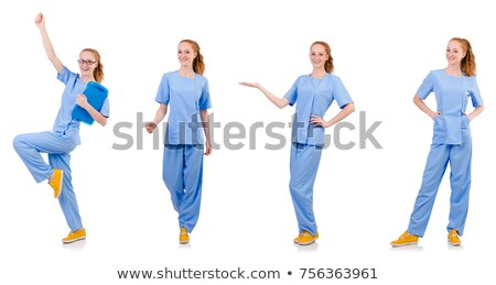 Woman-doctor in uniform with binder isolated on white Stock photo © Elnur