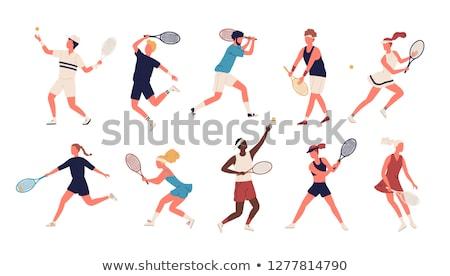 Collectie vrouw tennis spelers gekleurd sport Stockfoto © leonido