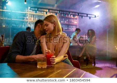 Flört flörtölő lány zárt jóképű férfi fehér Stock fotó © pressmaster