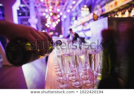 Banket evenement champagne tabel wijnglazen snacks Stockfoto © kasto