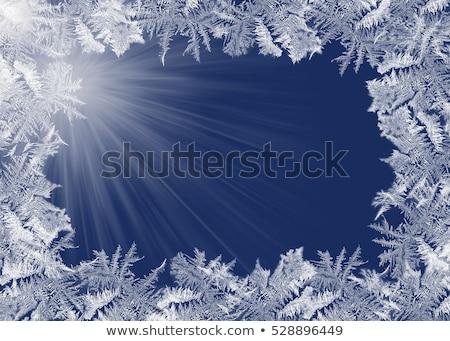 Niebieski mroźny naturalnych wzór zimą okno Zdjęcia stock © ptichka
