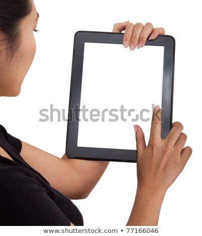 Man Showing Greeting Sign On Tablet Computer Stok fotoğraf © SuriyaPhoto