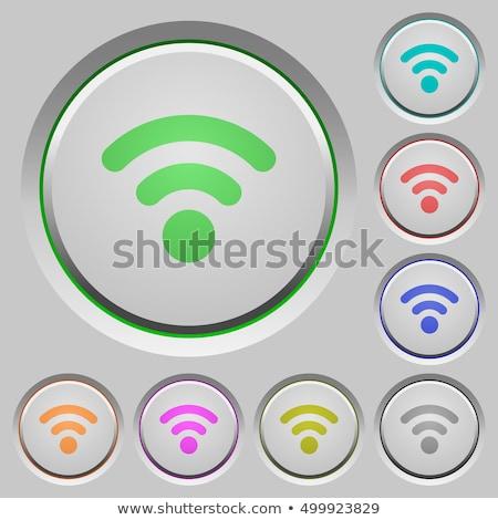Radio signaal roze vector knop icon Stockfoto © rizwanali3d