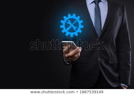 empresário · virtual · pictograma · ícone · mão · homem - foto stock © fotoquique