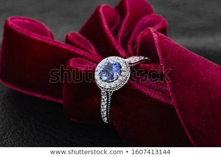 kék · drágakő · gyűrű · szett · arany · gyémántok - stock fotó © fruitcocktail