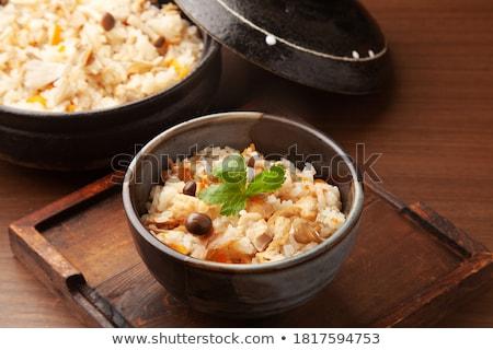 wild · rijst · keramische · lepel · witte · tabel - stockfoto © digifoodstock
