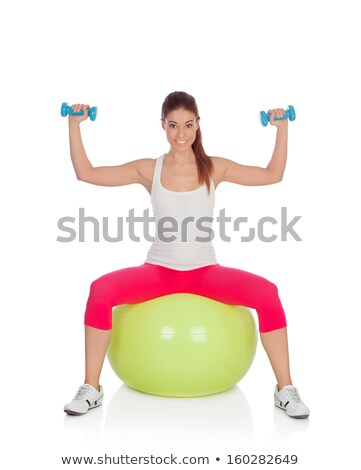 Woman in green doing aerobic Stock photo © bluering