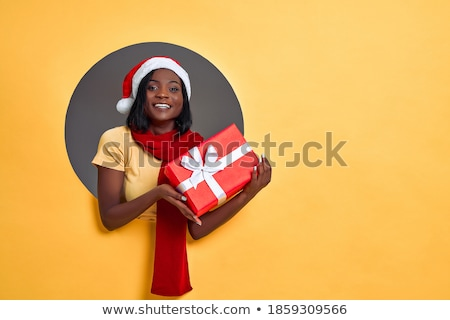 Young pleased woman in red hat Stock photo © deandrobot
