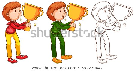 Man kissing trophy in three sketches Stock photo © bluering