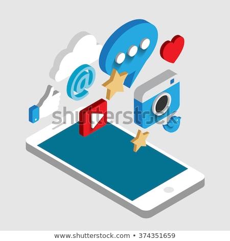 Közösségi média 3D izometrikus vektoros ikonok asztali chat Stock fotó © fresh_5265954