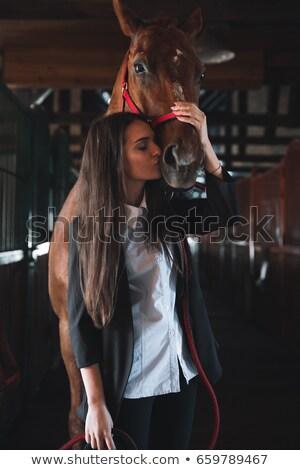 şaşırtıcı genç kadın ayakta ahır öpüşme at Stok fotoğraf © deandrobot