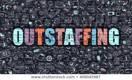 Multicolor Outstaffing on Dark Brickwall. Doodle Style. Stock photo © tashatuvango