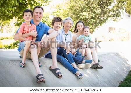 félvér · kínai · kaukázusi · szülők · gyermek · ház - stock fotó © feverpitch