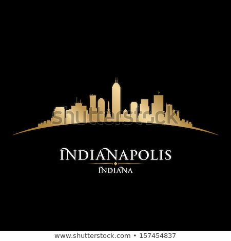 Gold Silhouette Of Indianapolis On Black Background Сток-фото © YurkaImmortal