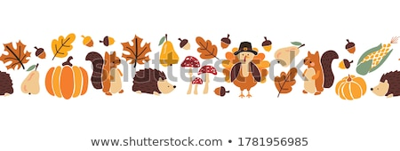 autumn harvest and thanksgiving day poster design stock photo © lemony
