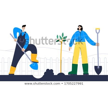 Man digging the ground with shovel vector illustration. Stock photo © RAStudio