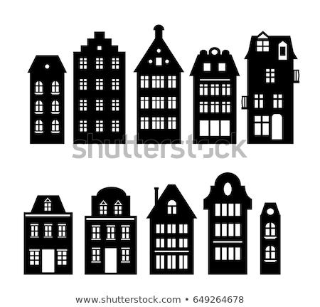 rivieroever · Amsterdam · oude · huizen · rivier · Nederland - stockfoto © neirfy