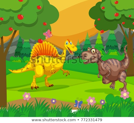Spinosaurus and T-Rex in the field Stock photo © colematt