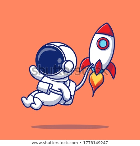 Cartoon Smiling Spaceman Fly Stock photo © cthoman