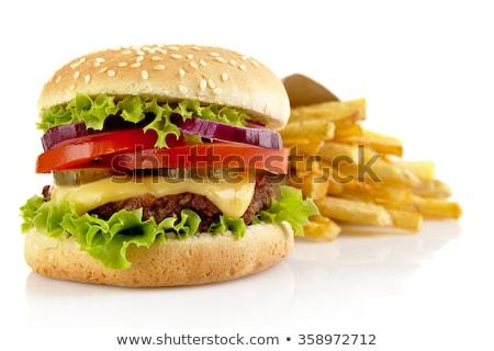 Stock foto: Burger · frites · Label · weiß · Zeichnung · Karikatur