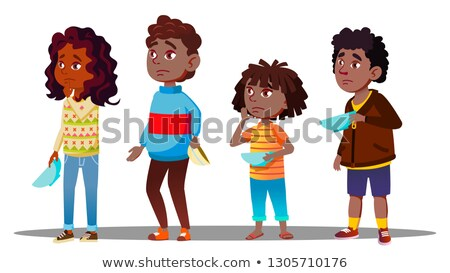 African Children Waiting In Line With Empty Plates For Social Dinner Vector. Isolated Illustration Stock photo © pikepicture