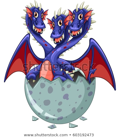 Dragon with three heads in egg Stock photo © colematt