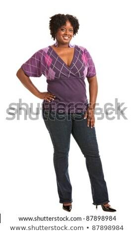 Retrato sorridente jovem excesso de peso mulher Foto stock © deandrobot