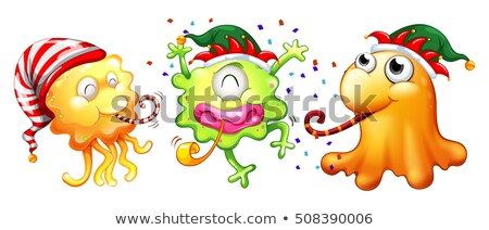 Christmas theme with three monsters having party Stock photo © colematt