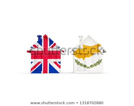Two houses with flags of United Kingdom and cyprus Stock photo © MikhailMishchenko