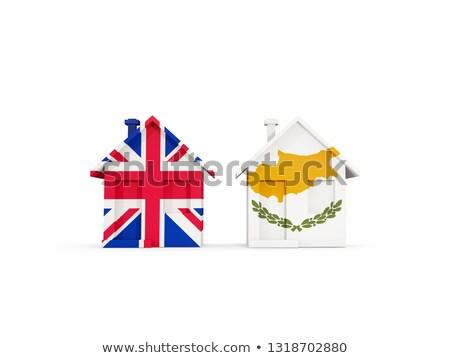 Dois casas bandeiras Reino Unido Chipre isolado Foto stock © MikhailMishchenko